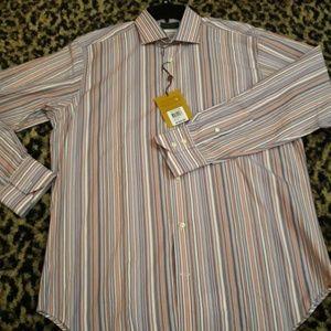 Thomas Dean Pink White Blue Striped Shirt L/S M